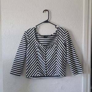 Black & White Zip Up Crop Top
